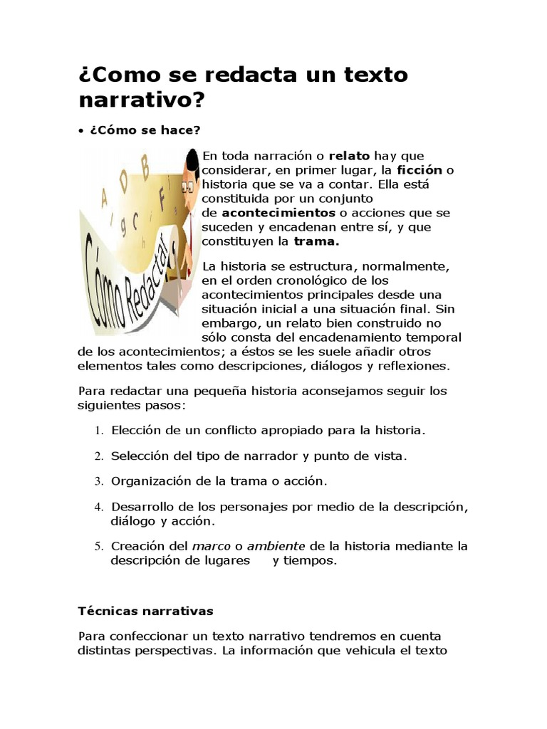Como Se Redacta Un Texto Narrativo Narración Science