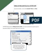 Cómo Insertar Tablas de Microsoft Excel en AUTOCAD