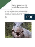 Tiranosaurio rex no solo comió carroña