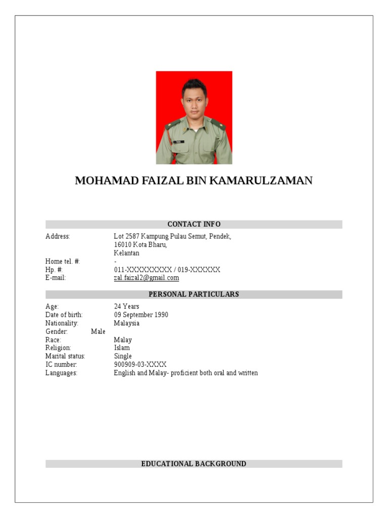 Contoh Resume Mohon Kerja Bahasa Melayu Resume For You