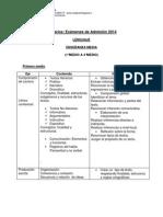 Temarios Examenes de Admision Lenguaje Ens. Media