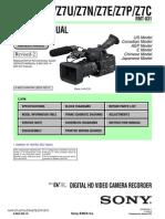 Sony Hvr-z7j, z7u, z7n, z7e, z7p, z7c Service Manual Ver 1.5 2009.02 Rev-2 (9-852-265-16)