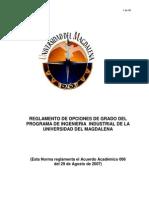 REGLAMENTO OPCIONES DE GRADO INGENIERÍA INDUSTRIAL
