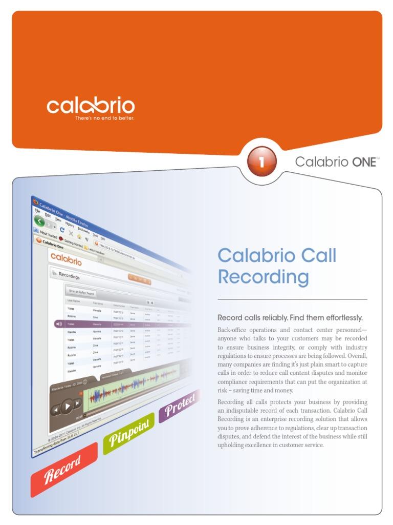 Calabrio Call Recording 9 2 20130930 PDF | Call Centre
