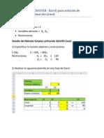 Método Simplex SOLVER solución de Problemas PL
