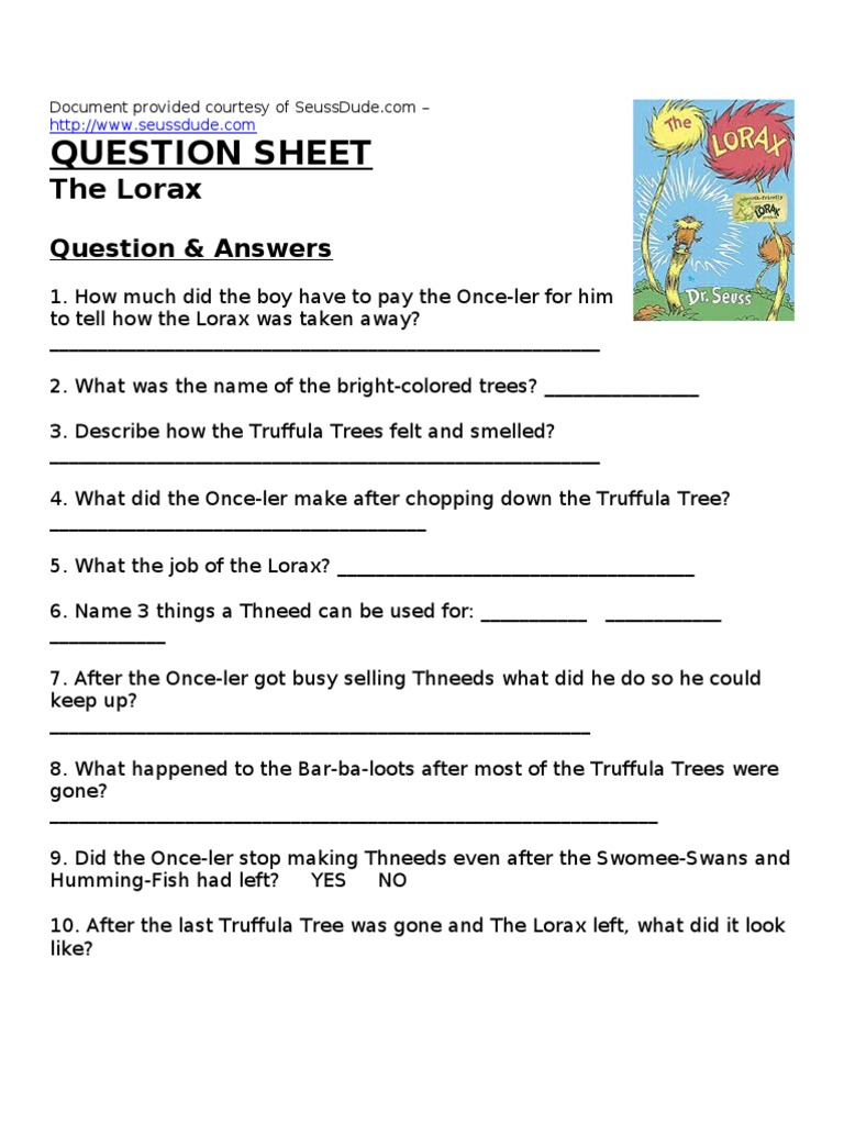 worksheet The Lorax Questions Worksheet dr seuss the lorax worksheet lesson plan
