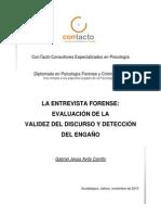LA ENTREVISTA FORENSE EVALUACIÓN  CREDIBILIDAD TESTIMONIO DETECCIÓN ENGAÑO