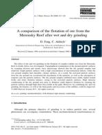 Una comparación de la flotación del mineral de la Merensky Reef después de la molienda en húmedo y en seco