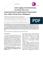 The Effect of Selective Logging on the Nest Density, Foraging Range and Colony Size on the Ground-Dwelling Ant Aphaenogaster Swammerdami Forel, 1886 in Kirindy Forest—Madagascar