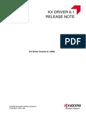 Kyocera mita Driver 6 1 0826 Release Note   Microsoft