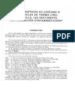 Les Inscriptions en Lineaire B Des Nodules de Thebes (1982).La fouille, les documents, les possibilités d'interprétation