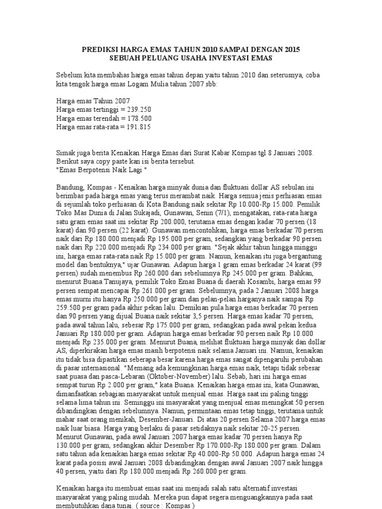 Prediksi Harga Emas Tahun 2010 Sampai Dengan 2015
