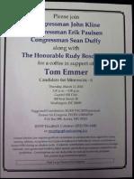Kline, Paulsen & Duffy Invitation to Emmer Fundraiser