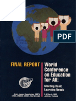 World Conference on Education for All: Meeting Basic Learning Needs