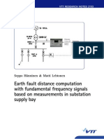 Earth fault distance computation with fundamental frequency signals based on measurements in substation supply bay