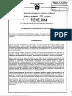 Decreto 014 Del 09 de Enero de 2014 Cree