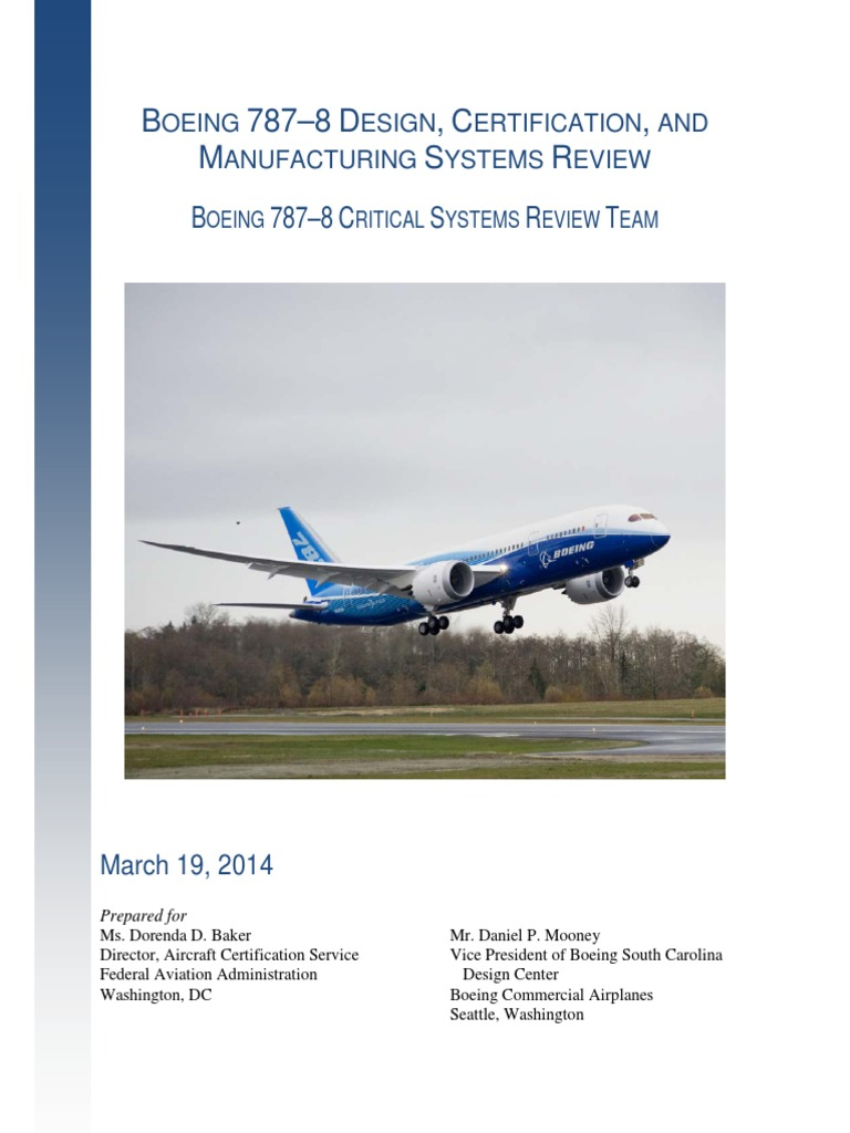 787 Report Final March 19 2014 Federal Aviation Administration Wiring Issues Supply Chain