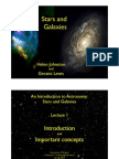 Lecture 1. Stars & Galaxies - Introduction and Review of Basic Concepts