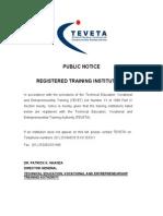 TEVET Registered Training Institutions