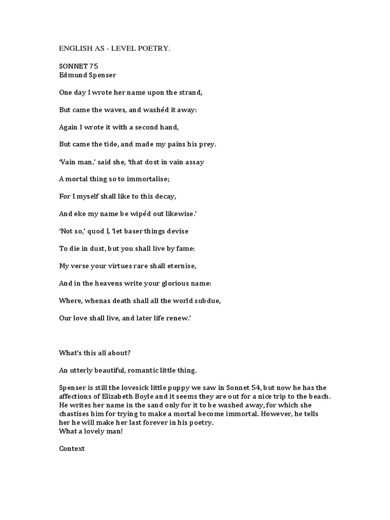 sonnet 3 by edmund spenser