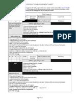 production sheet