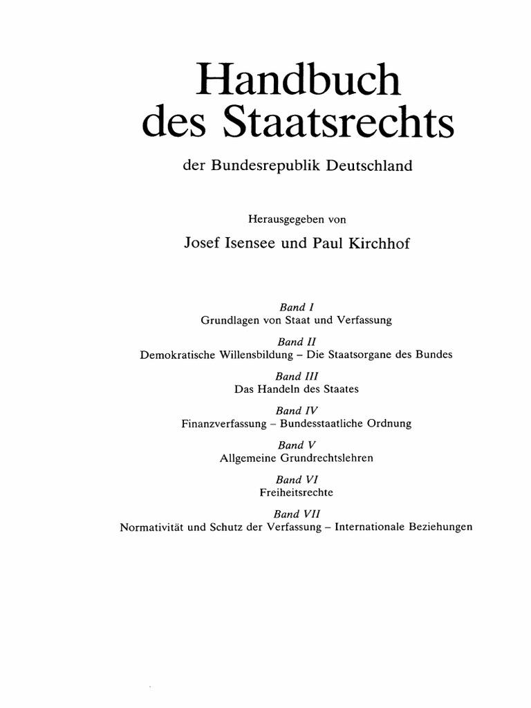 Handbuch des Staatsrechts der BRD §25