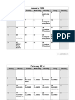2014 daycare calendar