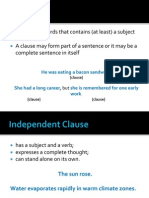 Clauses + Types of Sentences