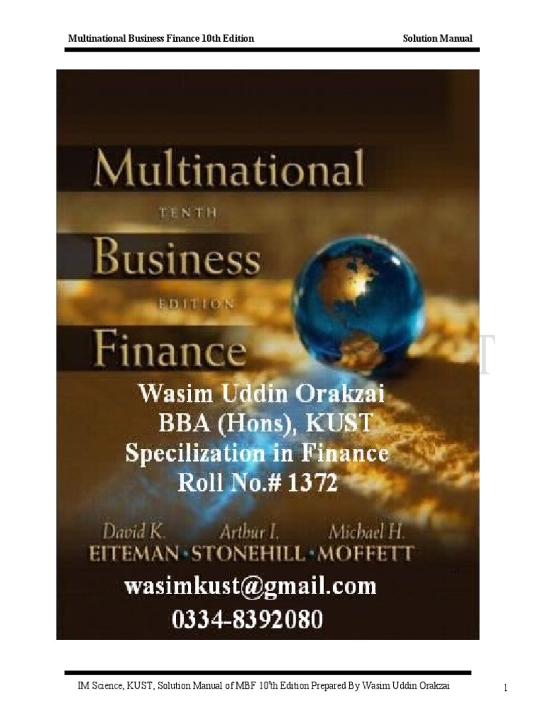 multinational business finance 12th edition solutions View test prep - solution manual for multinational business finance 12th edition by eiteman 2 from busn 380 at devry university, new york chapter2financialgoalsan.