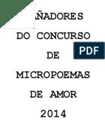 GAÑADORES DO CONCURSO DE MICROPOEMAS DE AMOR 2014