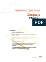 Cobertura Curricular Lenguaje 8basico 2013