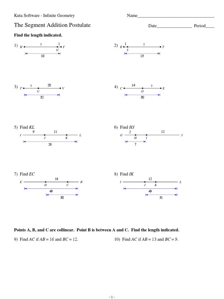 Angle Addition Postulate Worksheet Kuta Software - worksheet