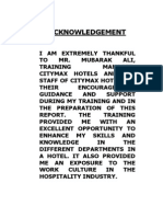 Citymax Training Report