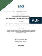 Termes de reference -  Recherche d'un consultant international pour la réalisation d'une étude sur la mesure de résilience