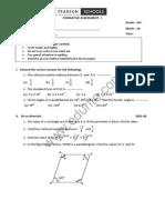 Class 8 Cbse Maths Question Paper Fa 1