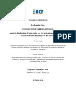 TERMES DE REFERENCE - Recherche d'un consultant international pour la réalisation d'une étude sur les mécanismes de protection sociale et le rôle des réserves de céréales