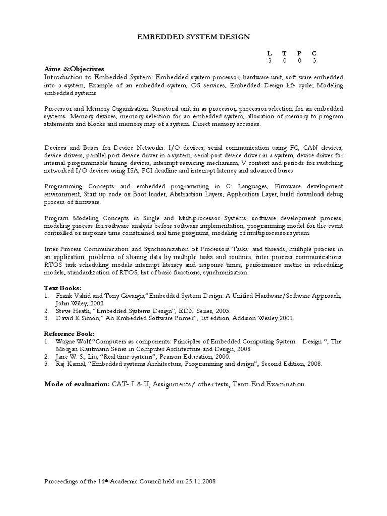 Ece406 Embedded System Design Th 1 00 Ac16 Embedded System Process Computing