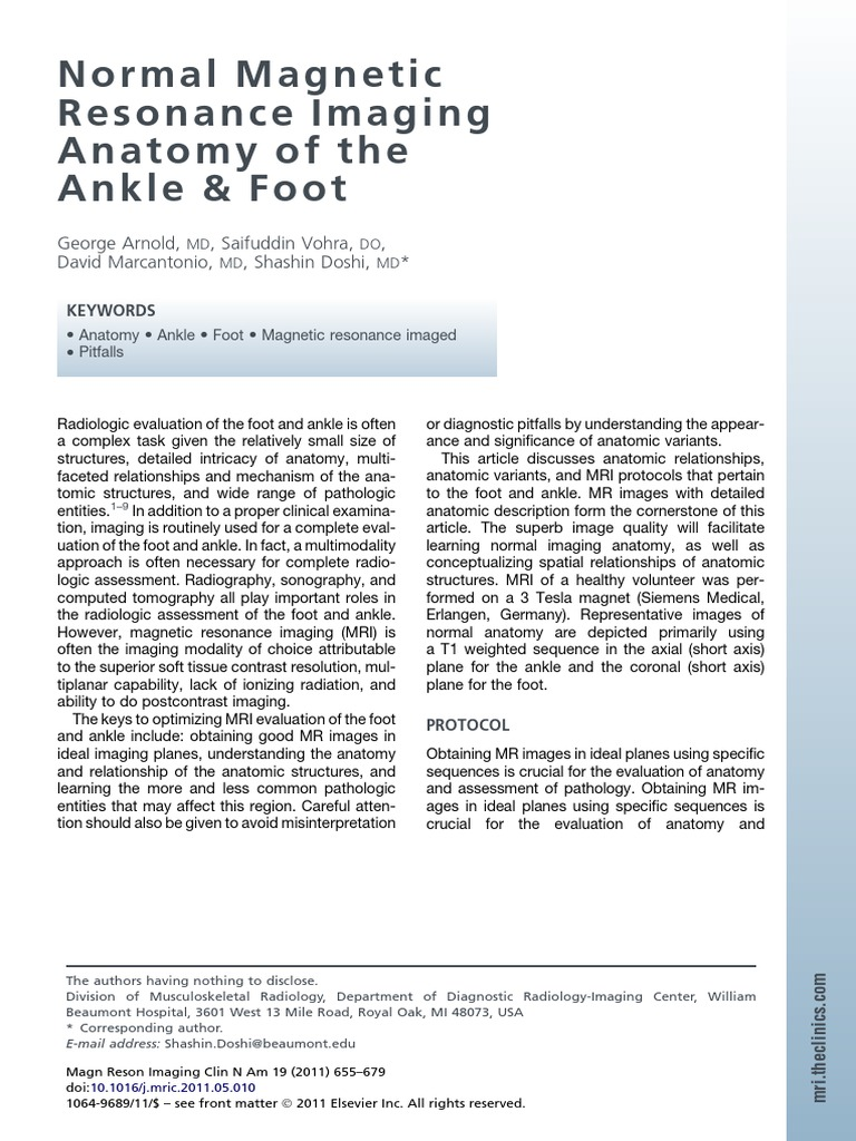 MRI Planes | Foot | Ankle