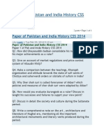 Paper of Pakistan and India History CSS 2014..