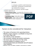Valuation of M&A
