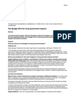 The Budget 2014 for local government lawyers