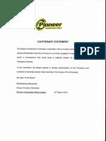 PION Cautionary Statement