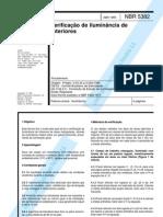 NBR 05382 (ABR-1985) VERIFICAÇÃO DE LUMINÂNCIA DE INTERIORES