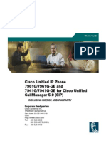 Cisco Unified IP Phone 7961G 7961G-GE And7941G 7941G-GE for Cisco Unified CallManager 5.0 (SIP)