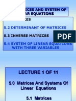 Lecture 1 of 11 (Chap 5, Matrices)