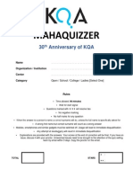 Mahaquizzer 2013 30th Anniversary Special Questions