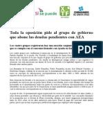Toda la oposición pide al grupo de gobierno que abone las deudas pendientes con AEA