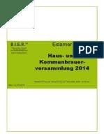 Haus- und Kommunbrauerversammlung 2014 (Mitschrift)
