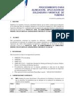 Procedimiento de alineación, aplicacion de soldadura y montaje de tuberia v1