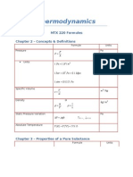 Thermodynamic Formulas